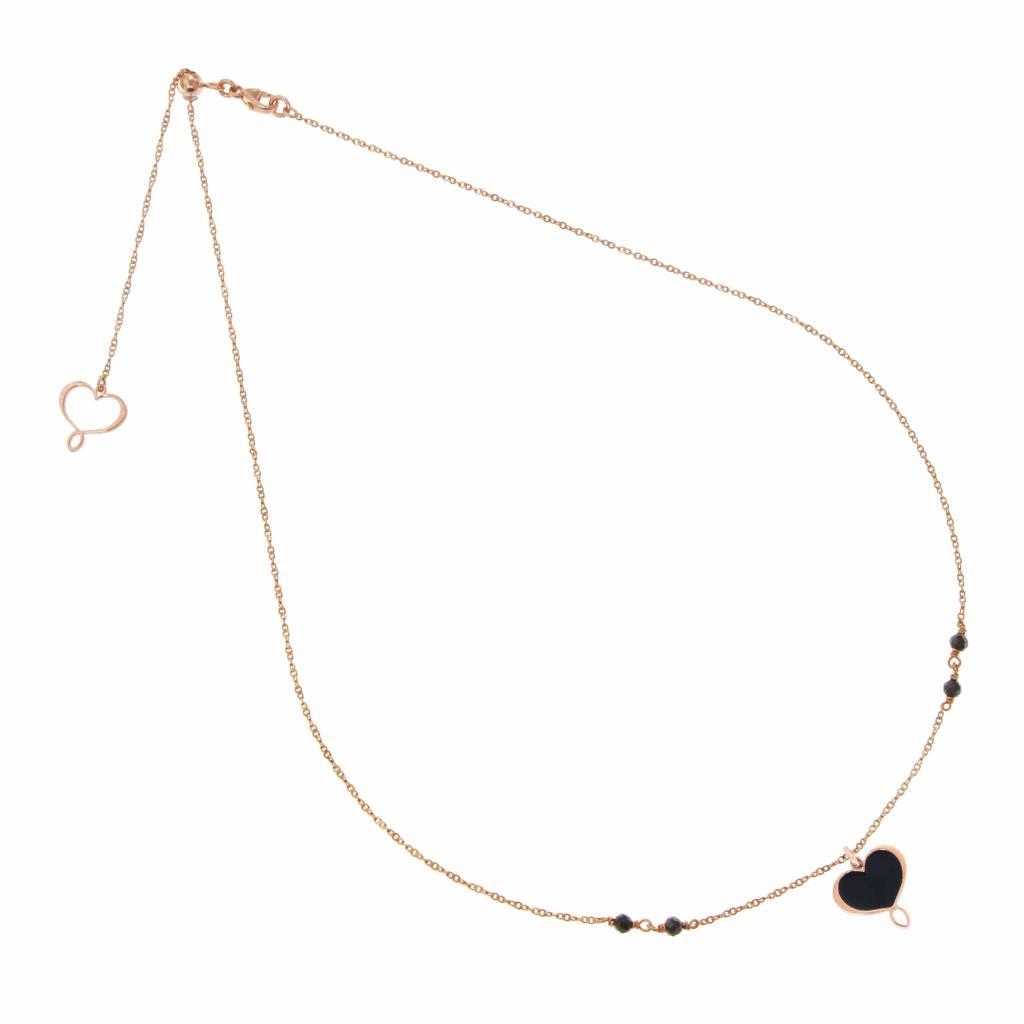 Collana con cuore Maman in argento 925 placcato in oro rosa  - MAMAN ET SOPHIE
