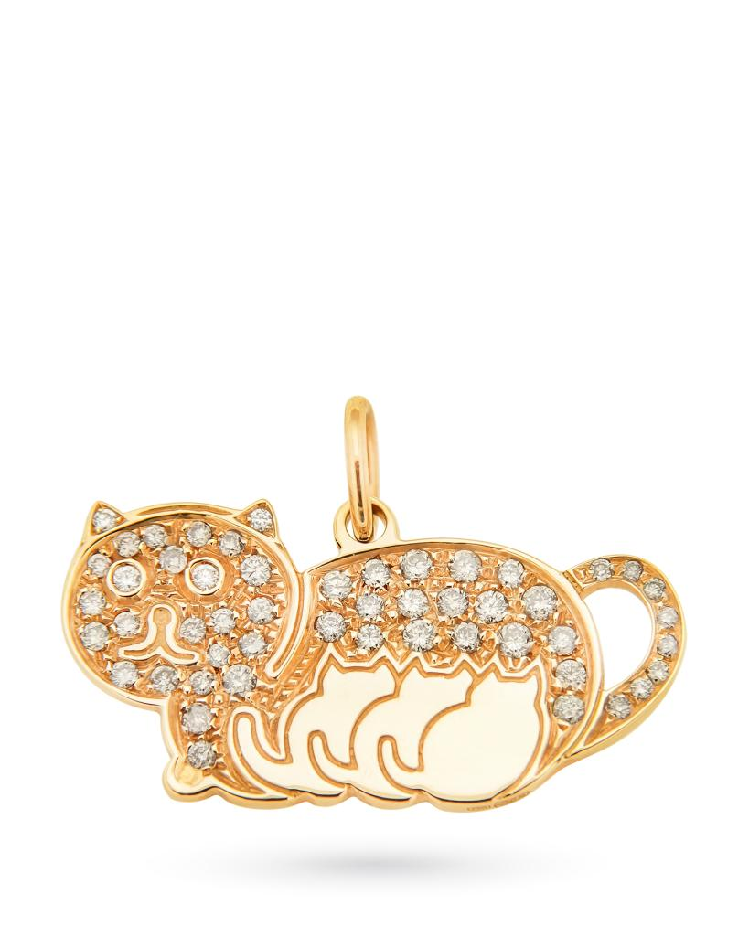Ciondolo in oro rosa gatto e cuccioli con diamant - ORO TREND