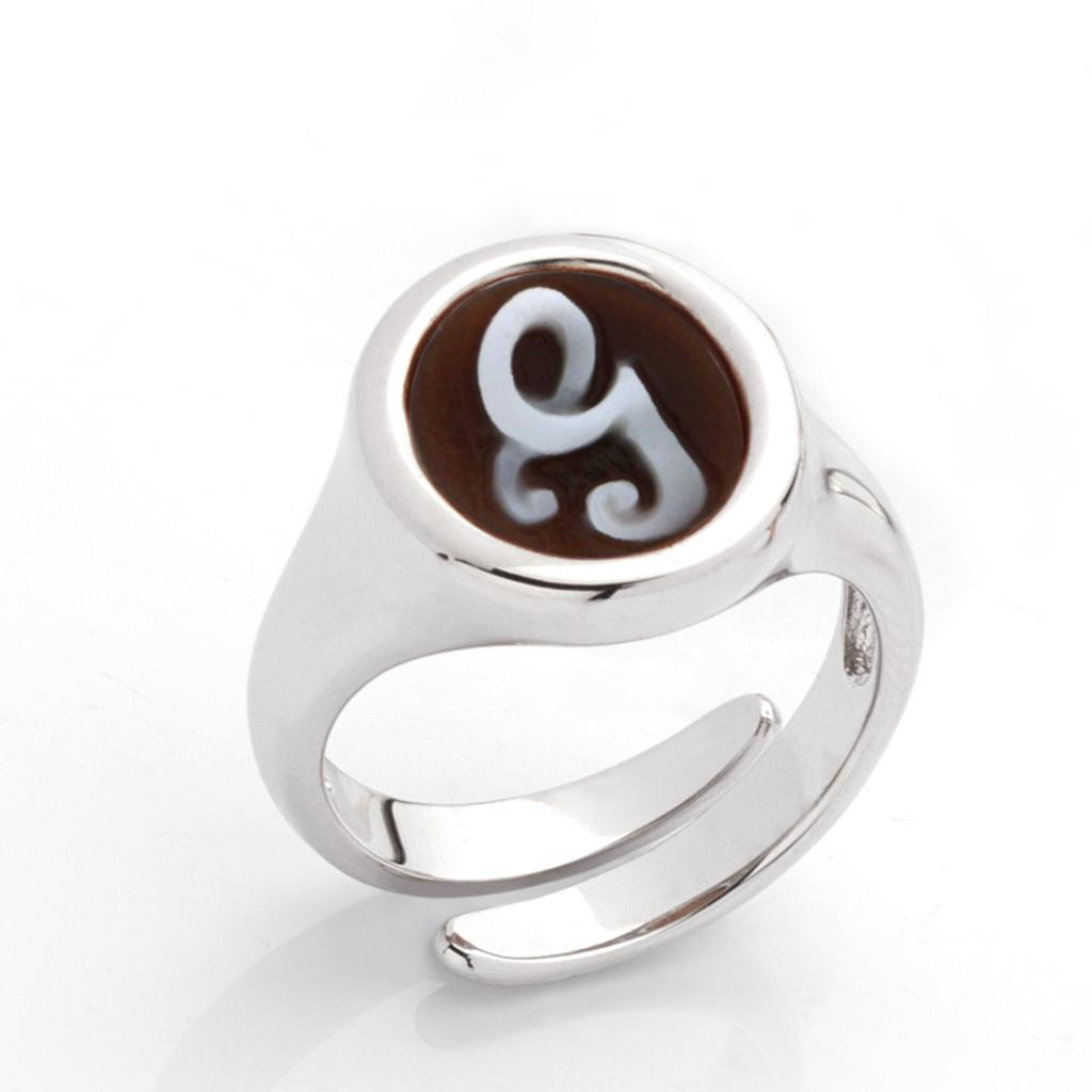 G letter ring in 925 silver with italics engraved cameo - CAMEO ITALIANO