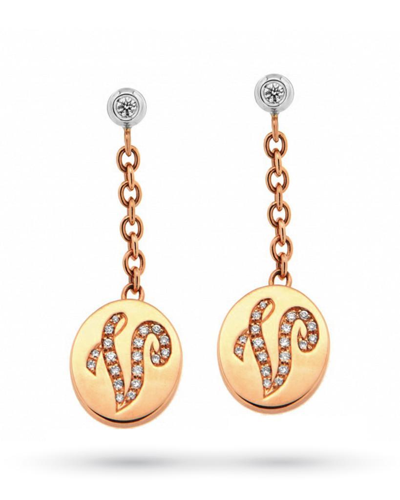 Orecchini pendenti con ciondolo e lettera diamanti oro rosa 18kt - ORO TREND