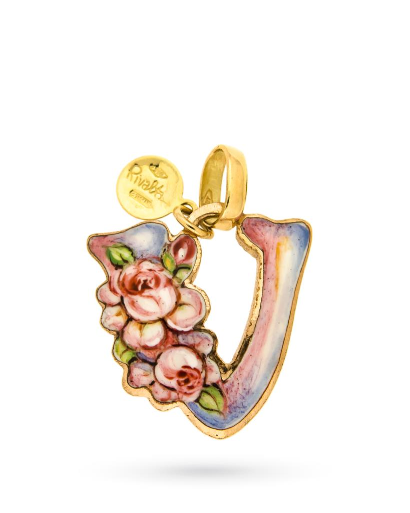 18kt yellow gold and copper Gabriella Rivalta Initial Letter V pendant - GABRIELLA RIVALTA