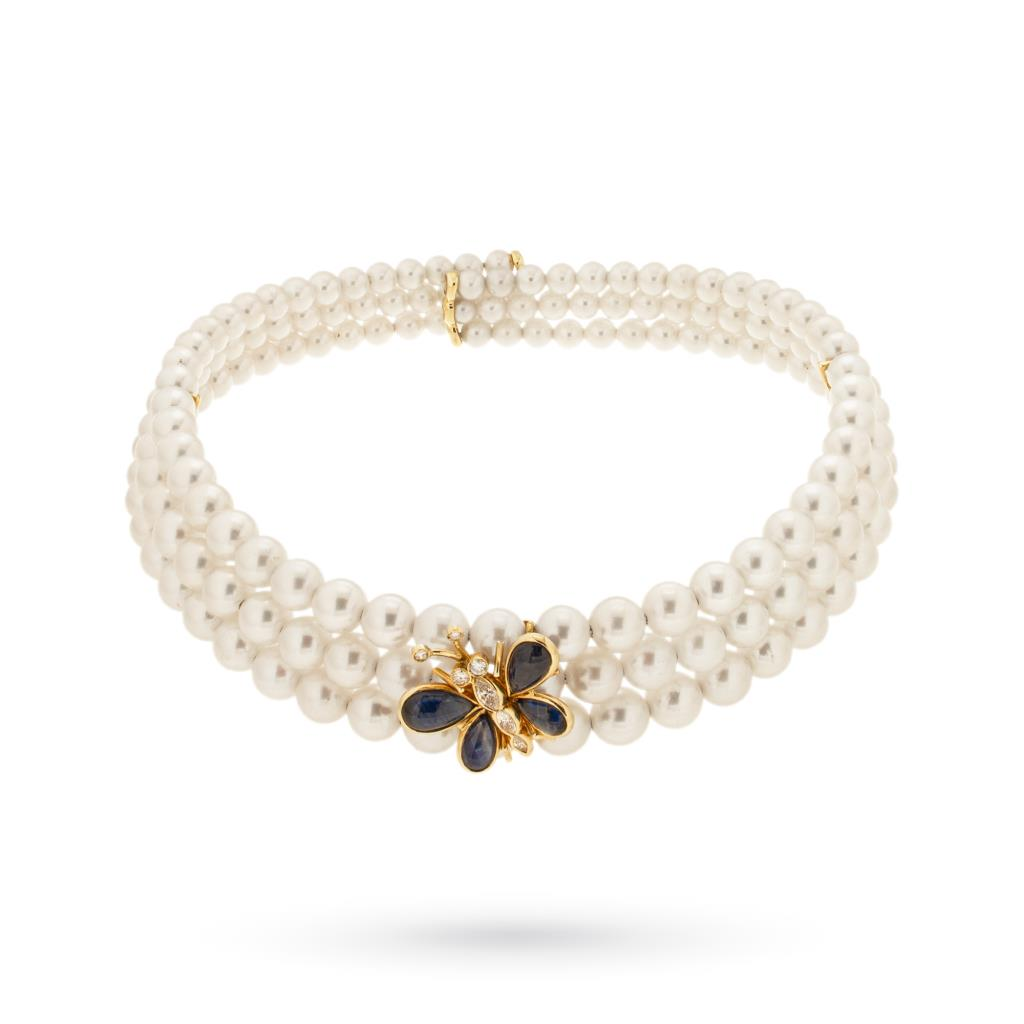 Pearl necklace with sapphire and diamond butterfly - MIKAWA