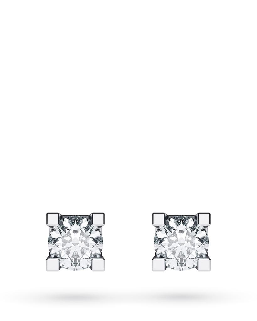 Orecchini a lobo 4 griff in oro bianco con diamanti ct 0,16 D VS - CICALA