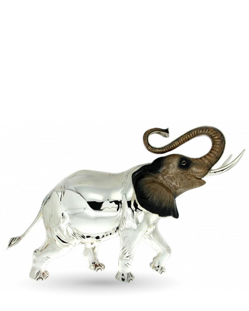 Elefante gigante soprammobile in argento e smalto - SATURNO