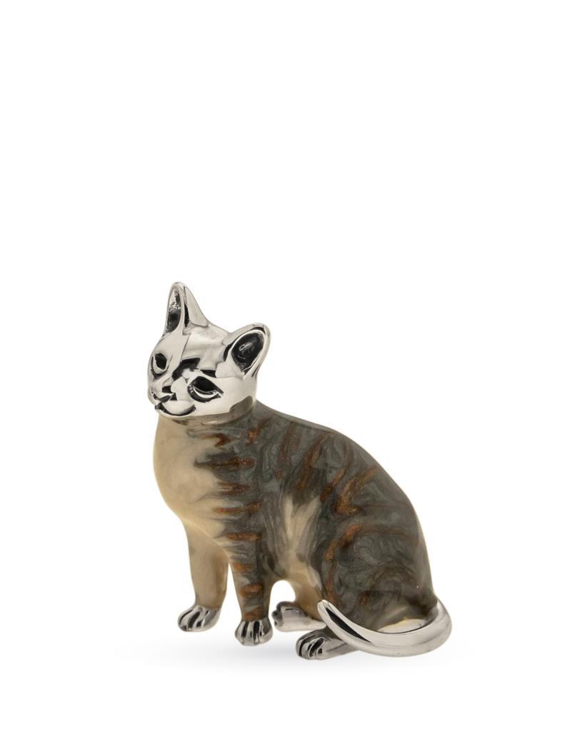 Gatto grigio sopramobile in argento e smalto  - SATURNO
