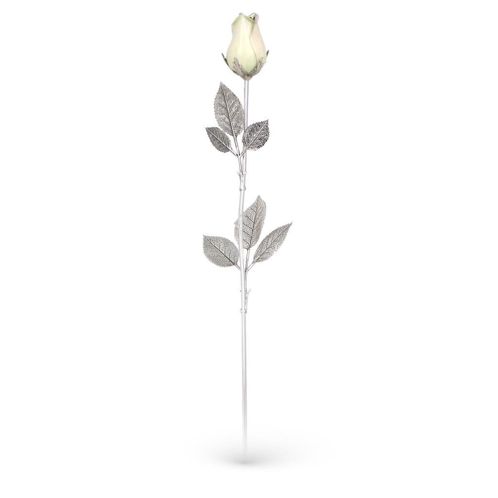 White rose ornament in sterling silver and enamel 48cm - GI.RO'ART