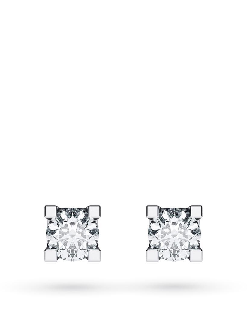 Orecchini a lobo 4 griff in oro bianco con diamanti ct 0,24 D VS - CICALA