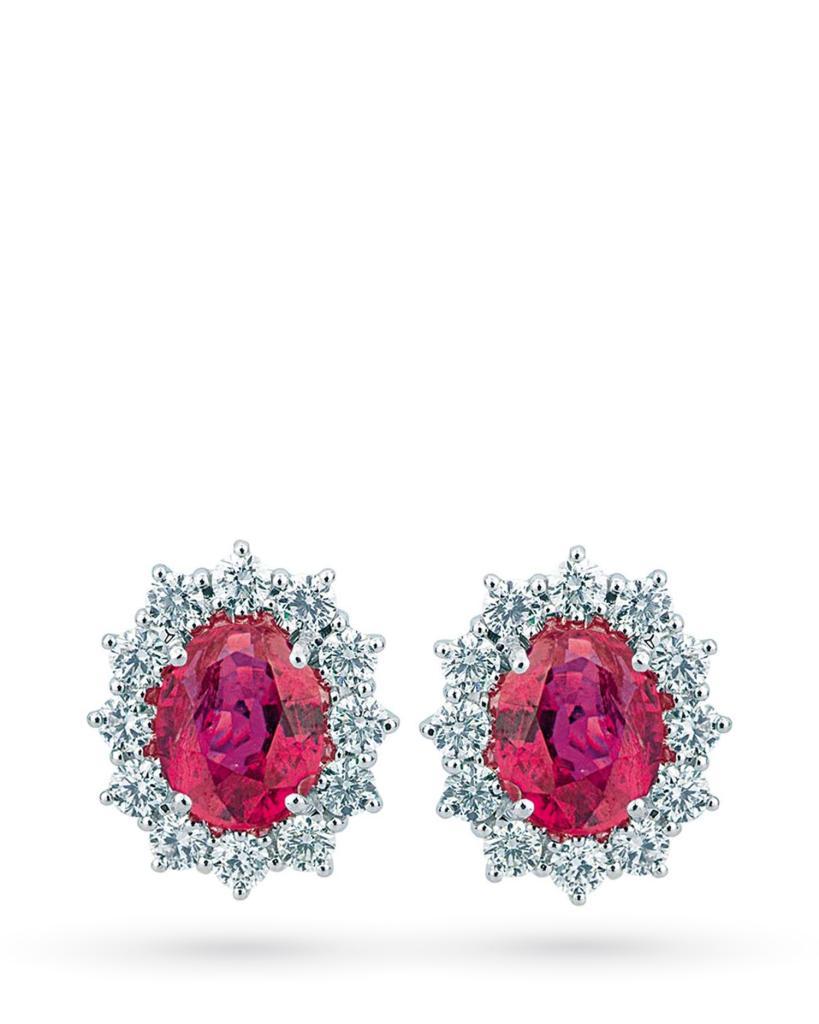 Orecchini in oro con rubini ovali 3,57ct e diamanti 1,34ct G VS - MIRCO VISCONTI