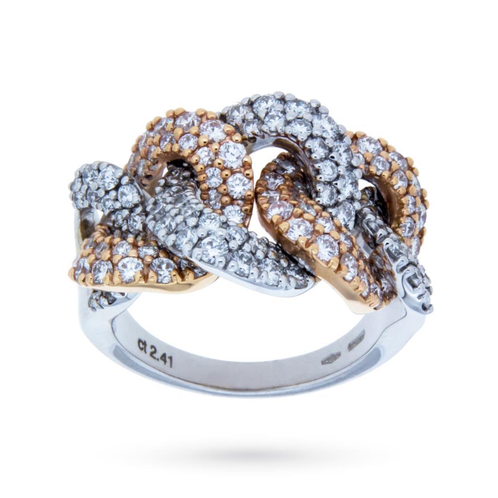 Anello in oro rosa e bianco con catena di diamanti 2,41ct G VS - MIRCO VISCONTI