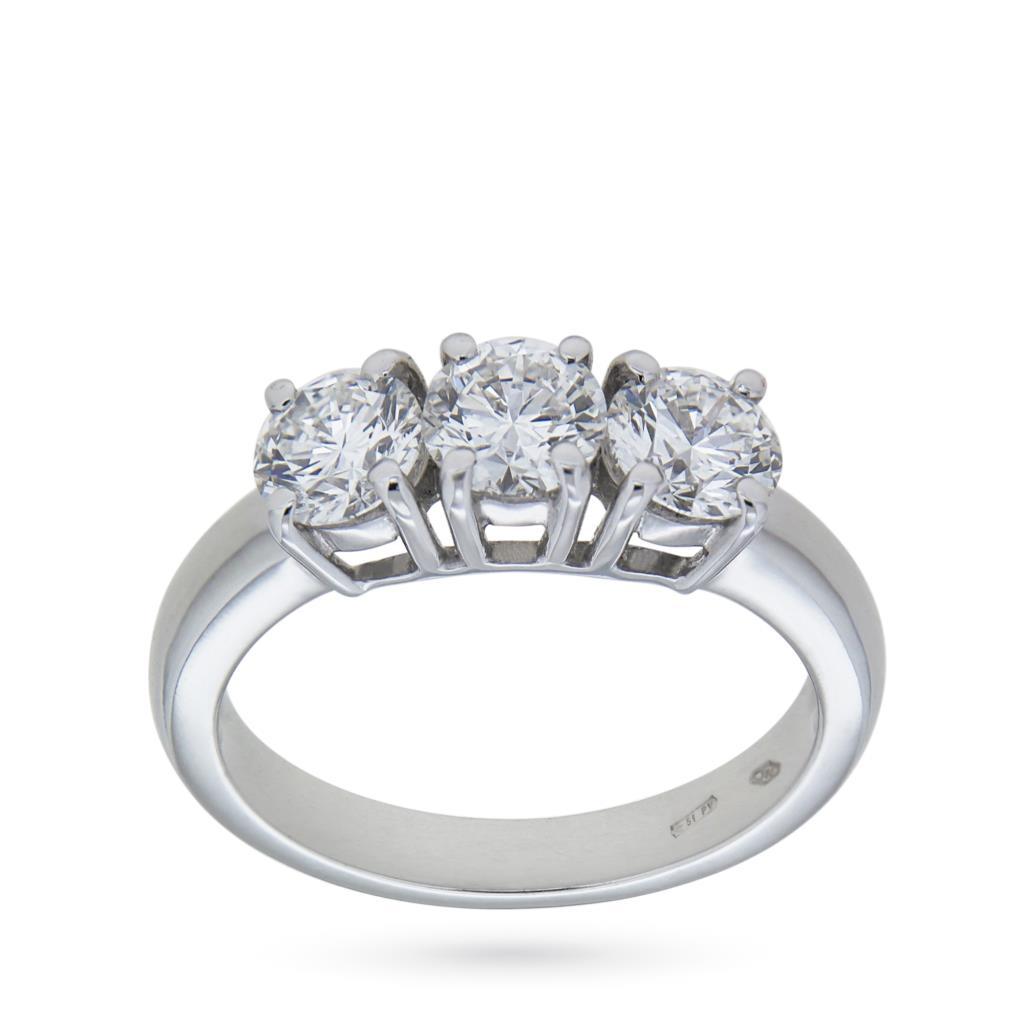 Anello Trilogy di diamanti GIA in oro bianco ct 1,72 E VS2 - CICALA
