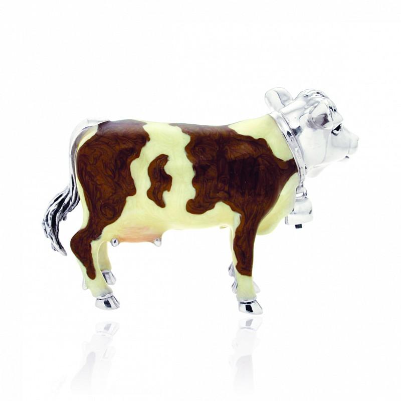 Mucca grande soprammobile in argento e smalto - SATURNO