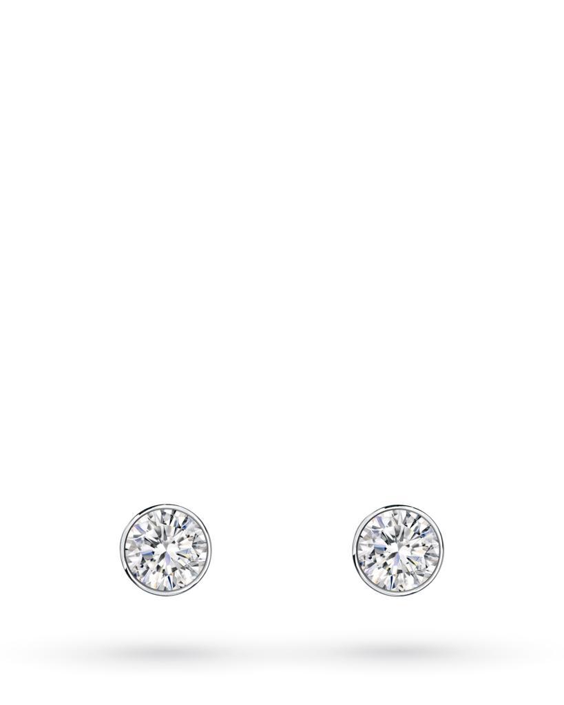 Orecchini a lobo rotondi in oro bianco con diamanti ct 0,05 D VS - CICALA