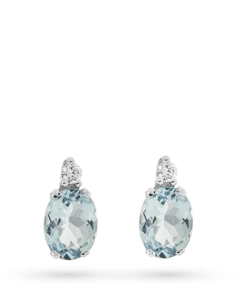 Orecchini in oro bianco con acquamarina e diamante - CICALA