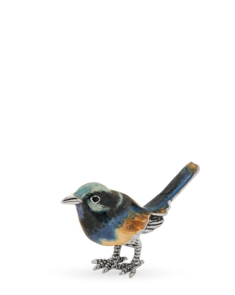 Scricciolo azzurro piccolo soprammobile in argento e smalto - SATURNO