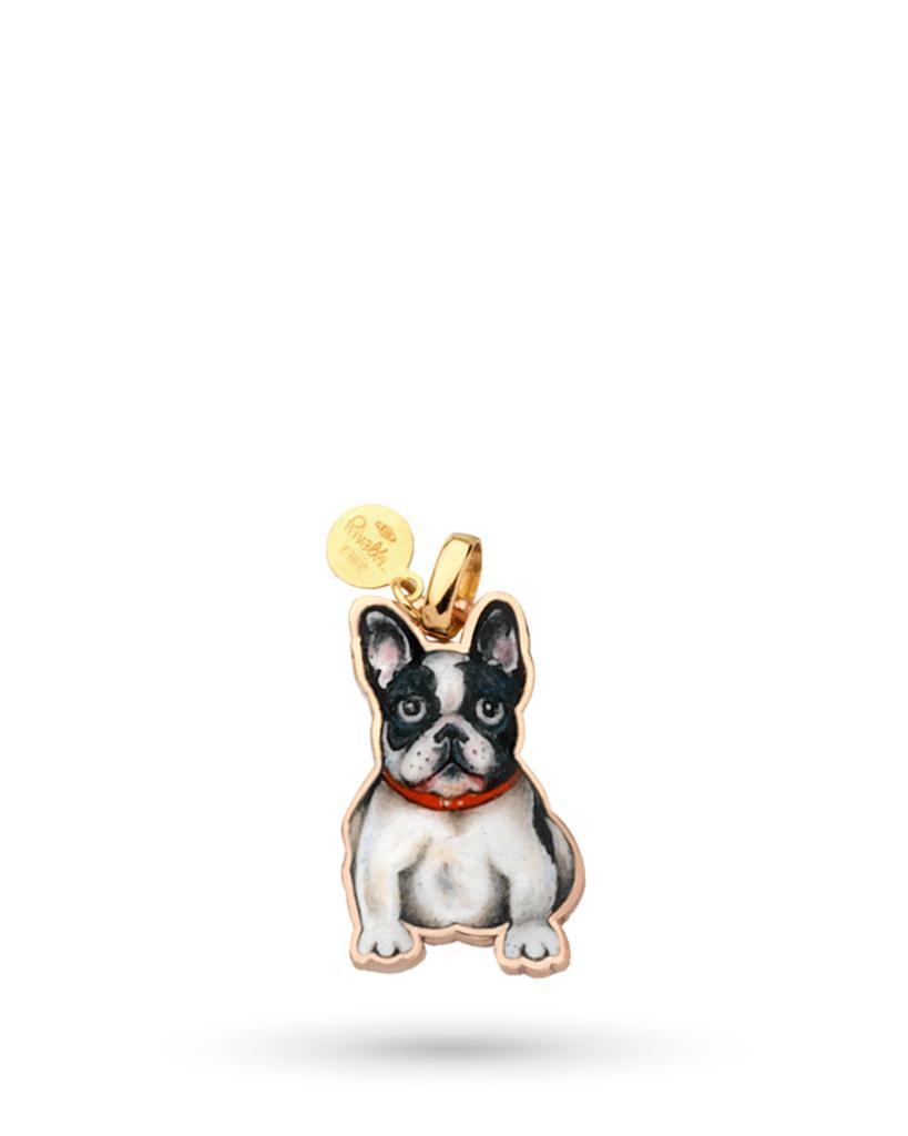 18kt yellow gold and copper Gabriella Rivalta French Bulldog pendant - GABRIELLA RIVALTA