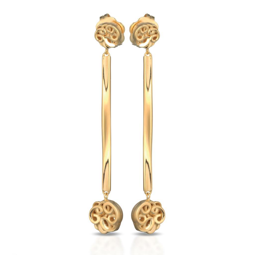 Orecchini pendenti in argento dorato 925 con ricami - MARESCA OFFICINE ORAFE