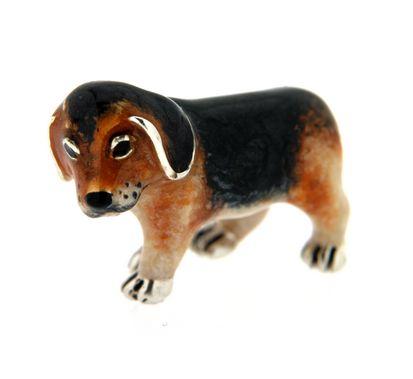 Beagle cucciolo soprammobile in argento e smalto - SATURNO