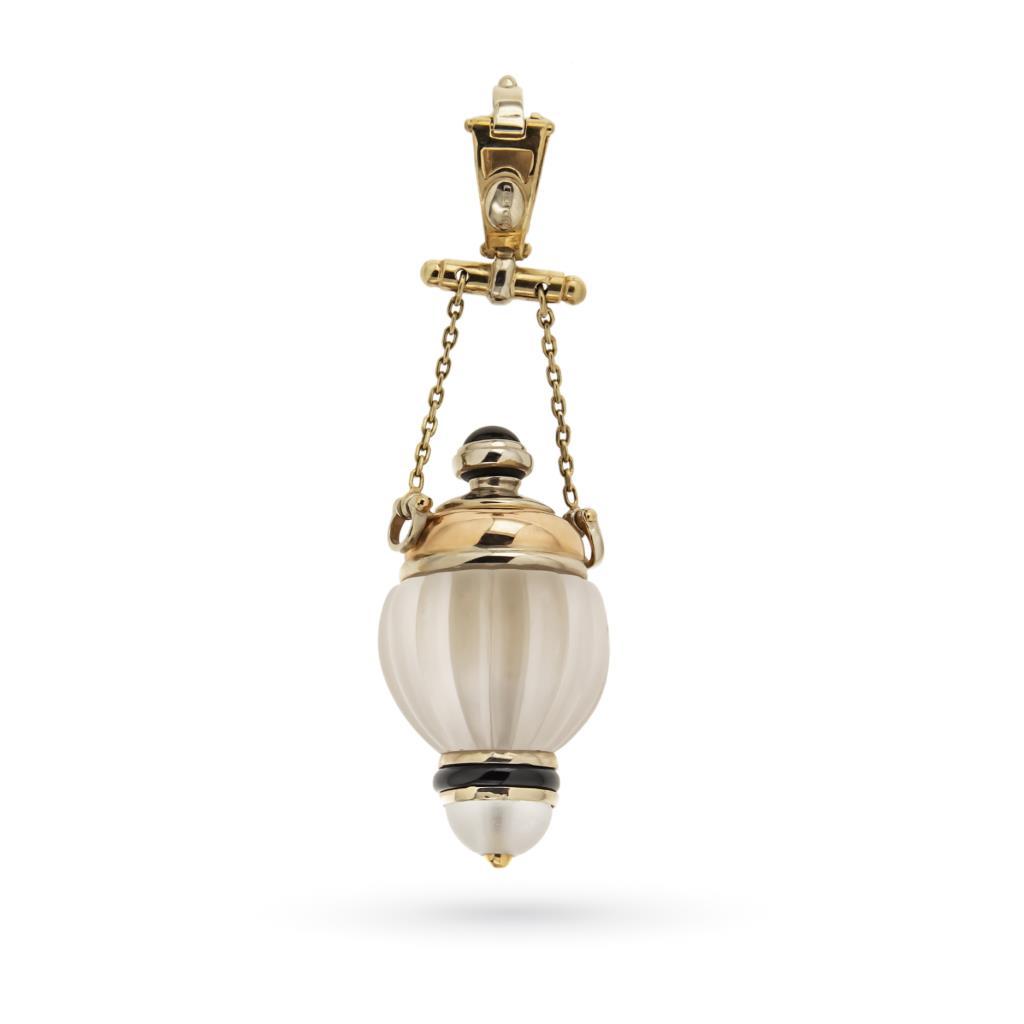 Ciondolo porta profumo anfora in oro, cristallo di rocca e onice - CREART
