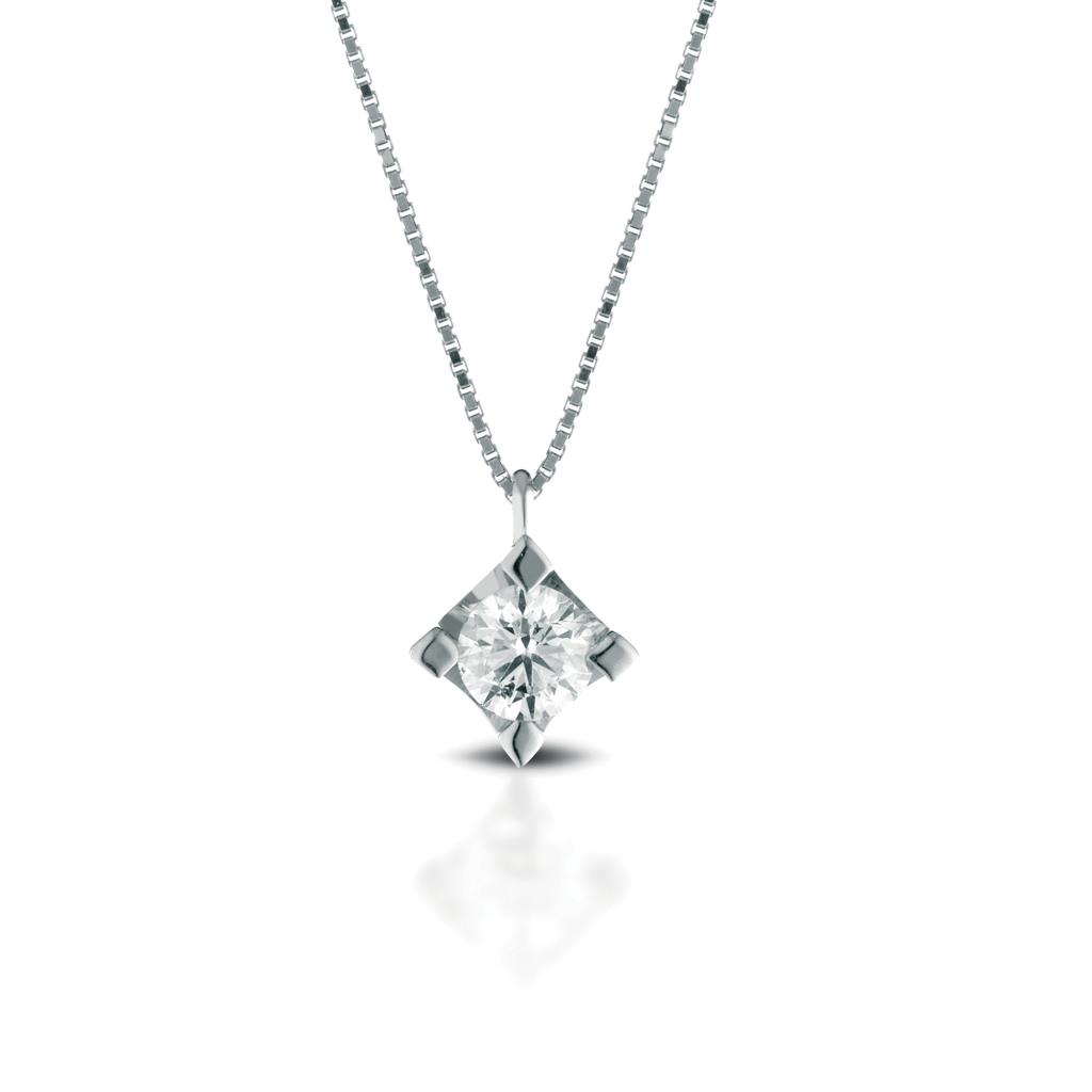 Solitaire necklace gold with diamond 0,02ct - LELUNE DIAMONDS