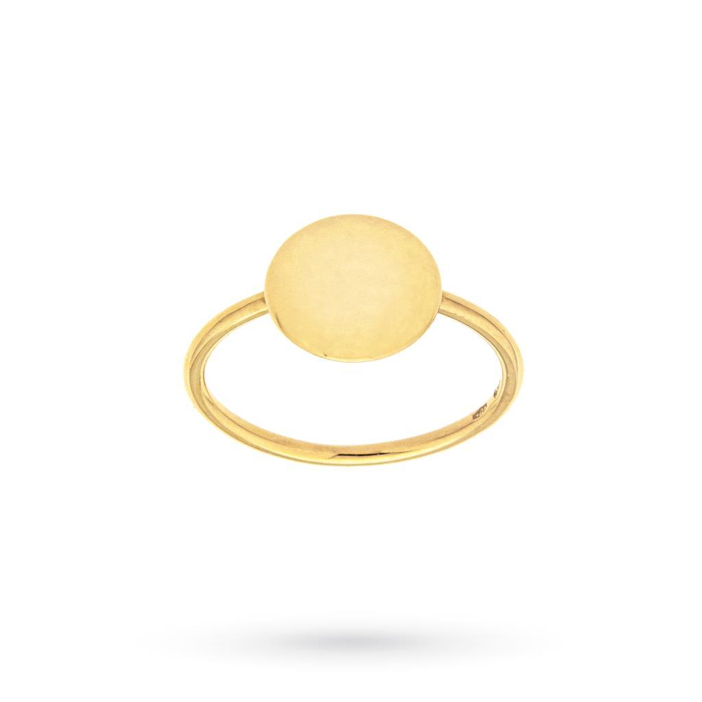 Anello con disco centrale lucido in oro giallo 18kt - CICALA