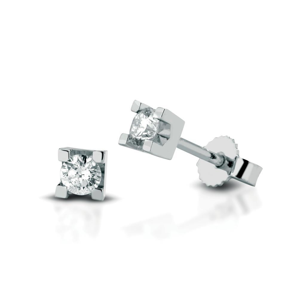 Square diamond stud earrings 18kt white gold 0,14ct - LELUNE DIAMONDS