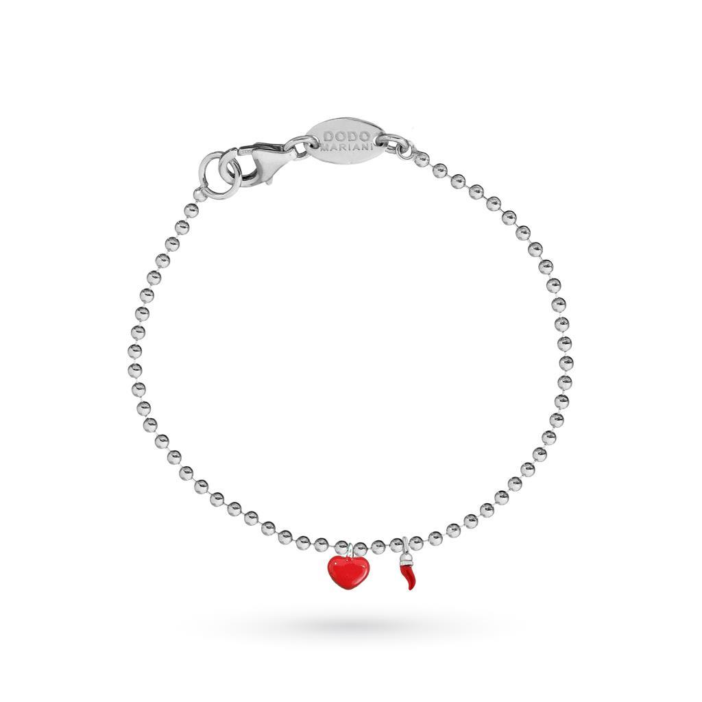 Dodo Mariani small dots bracelet in silver with enameled heart and horn - DODO MARIANI