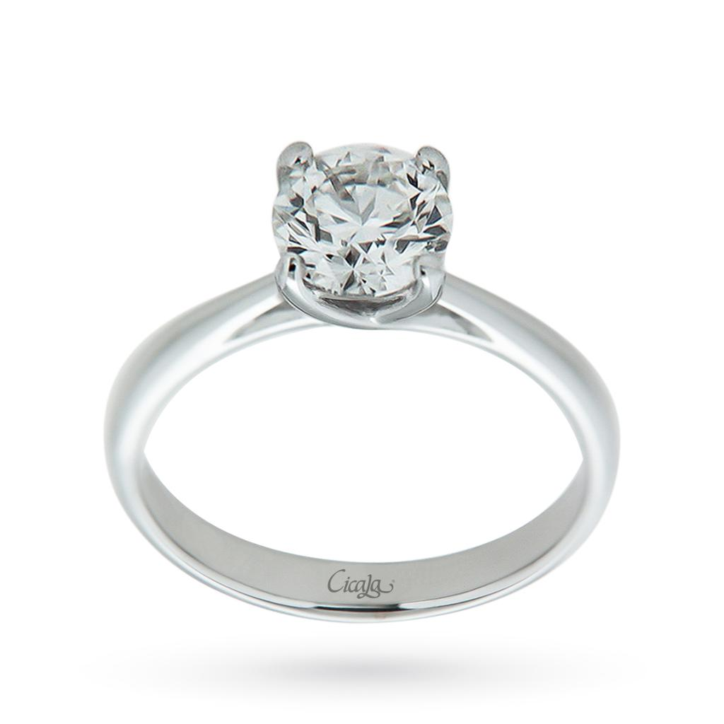 18kt white gold solitaire ring with diamond ct 1,01 G VVS2 - CICALA