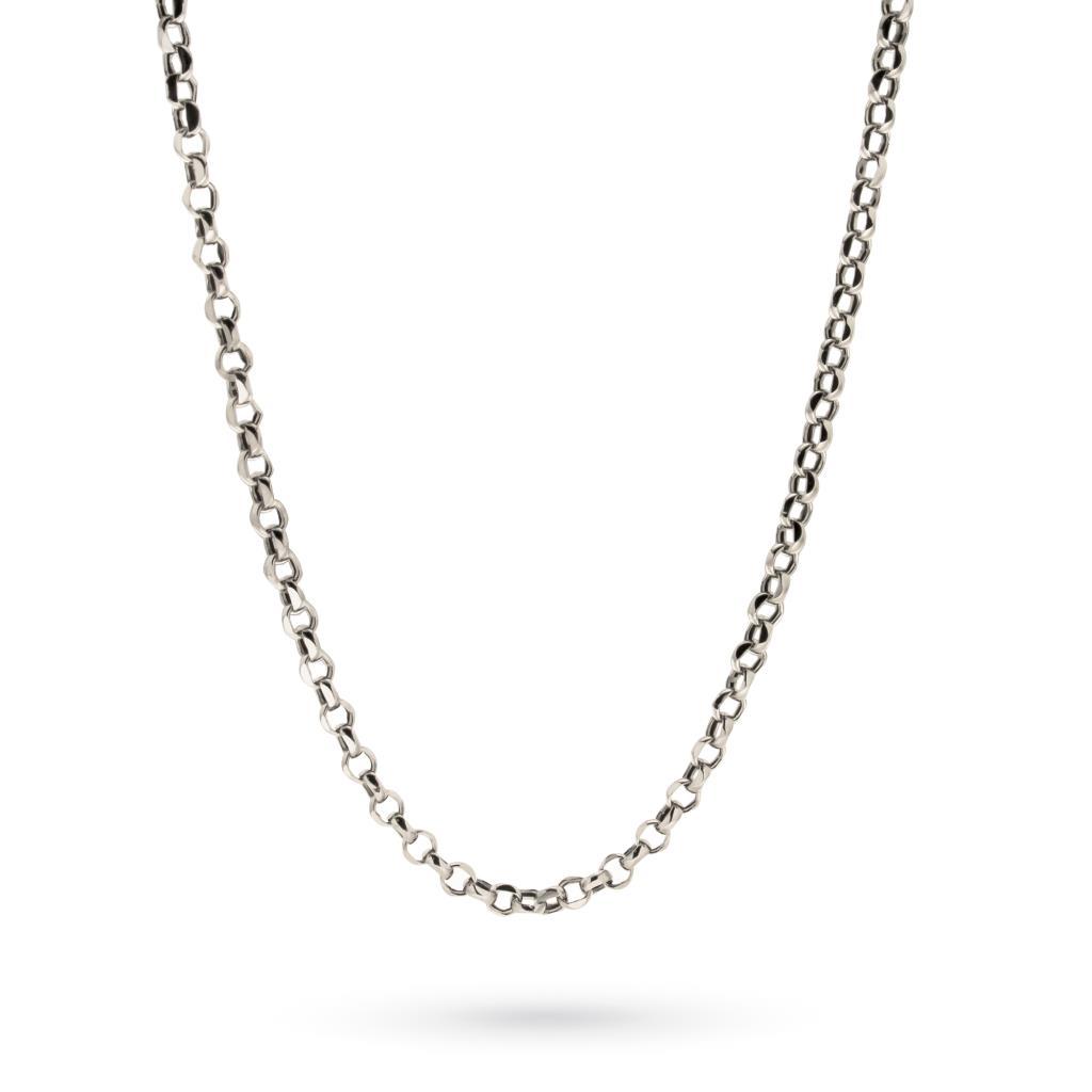 Catena maglia rolò diamantata in oro bianco 45cm - CICALA