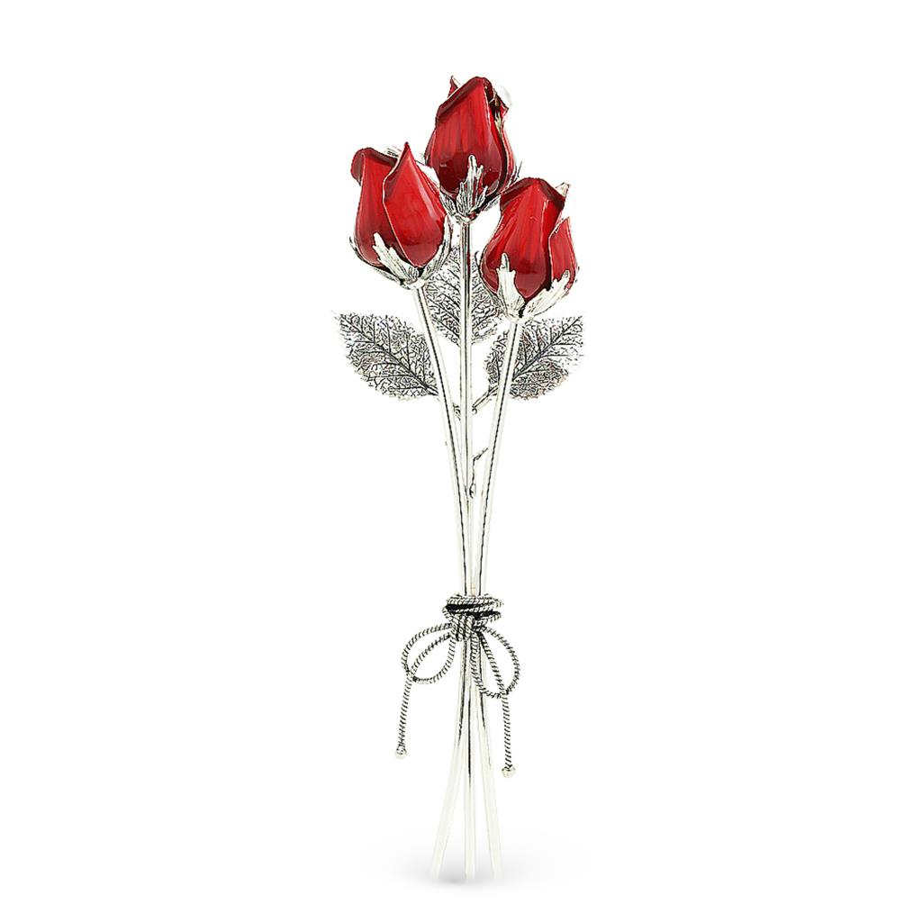 Bouquet of red roses ornament in sterling silver and enamel 17cm - GI.RO'ART