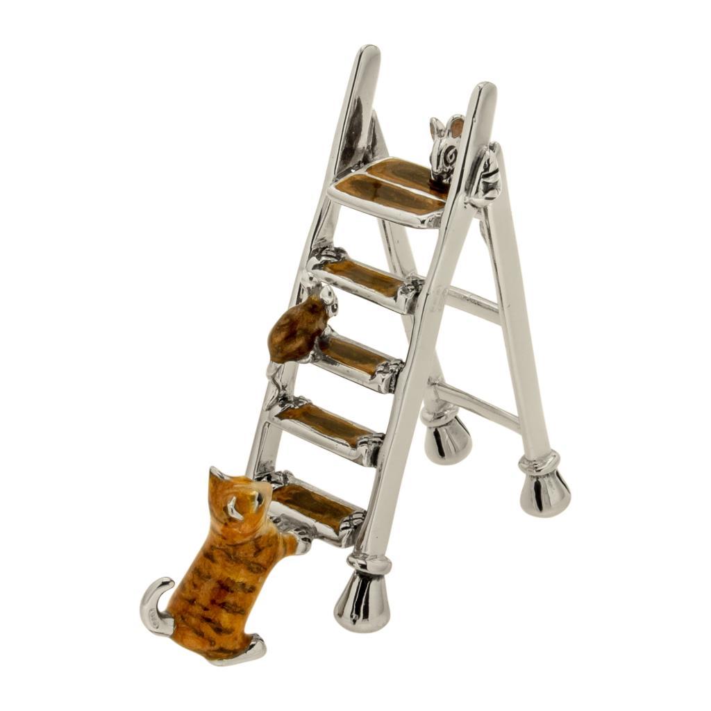 Gatto con scala soprammobile in argento e smalto  - SATURNO
