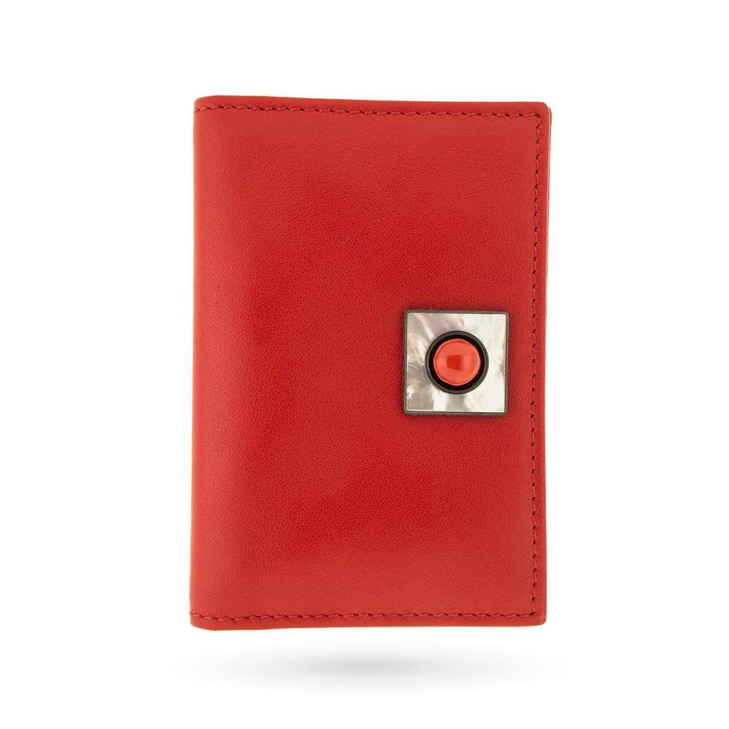 Portabiglietti in pelle rossa con madreperla onice e corallo - ASCIONE