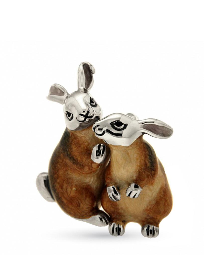 Coppia di conigli beige sopramamobile in argento e smalto - SATURNO