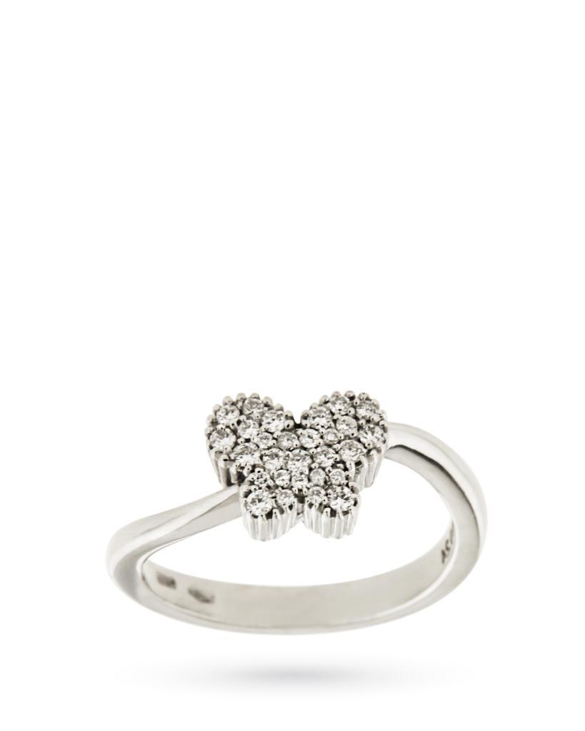 Anello in oro bianco con farfalla di diamanti 0,24ct G VS - MIRCO VISCONTI