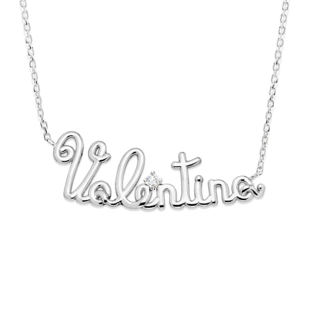 18kt yellow gold necklace with name VALENTINA and diamond - GOVONI