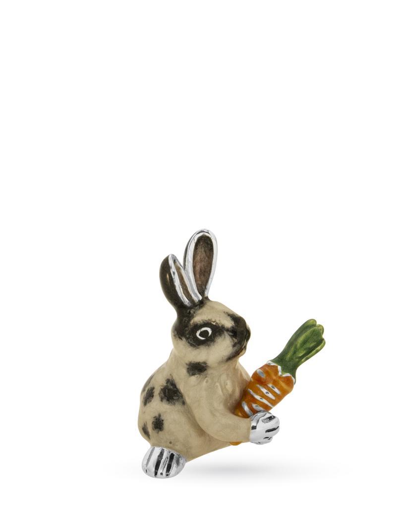 Coniglio con carota piccolo soprammobile in argento e smalto - SATURNO