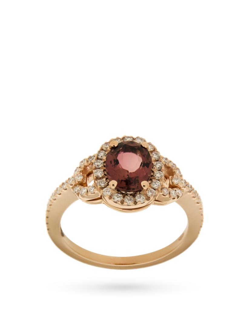 Anello in oro giallo con tormalina rosa e pave di diamanti  - CICALA