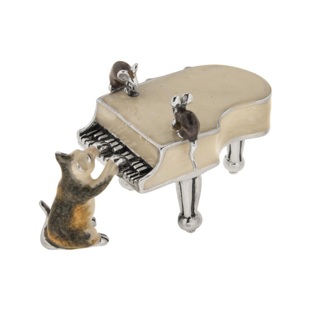 Pianoforte con gatto e topolini soprammobile in argento e smalto - SATURNO