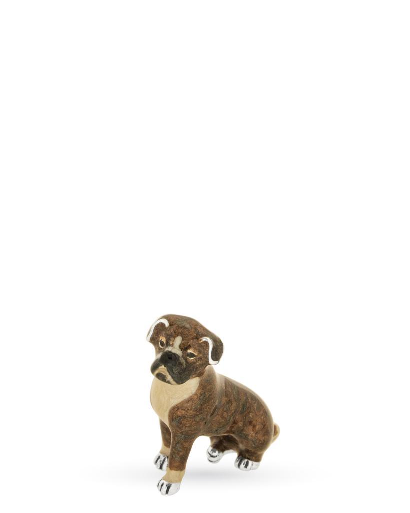 Cane boxer mini soprammobile in argento e smalto - SATURNO