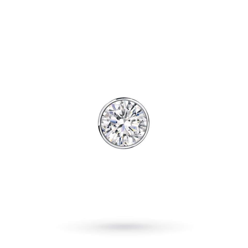 Orecchino singolo da uomo in oro bianco con diamante ct 0,12 D VS - CICALA