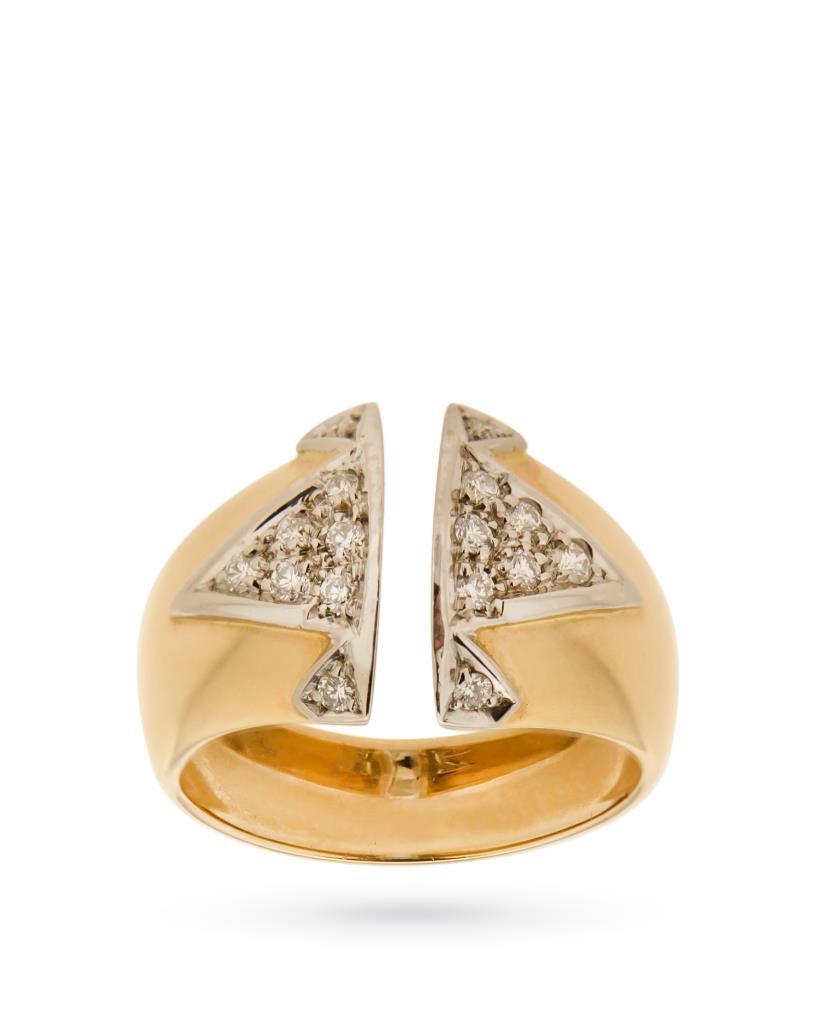 Anello a fascia in oro giallo e bianco con diamanti - MAXART