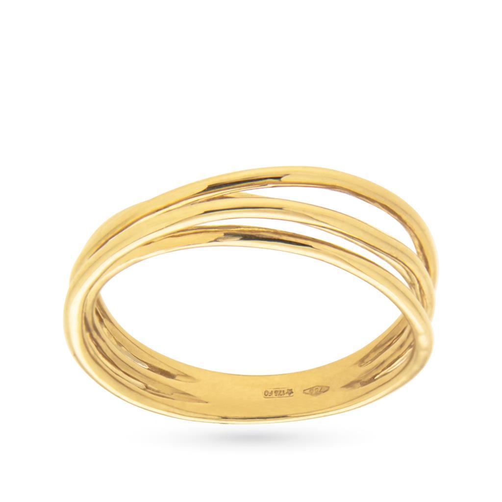 Anello in oro giallo con 4 fili attorcigliati - CICALA