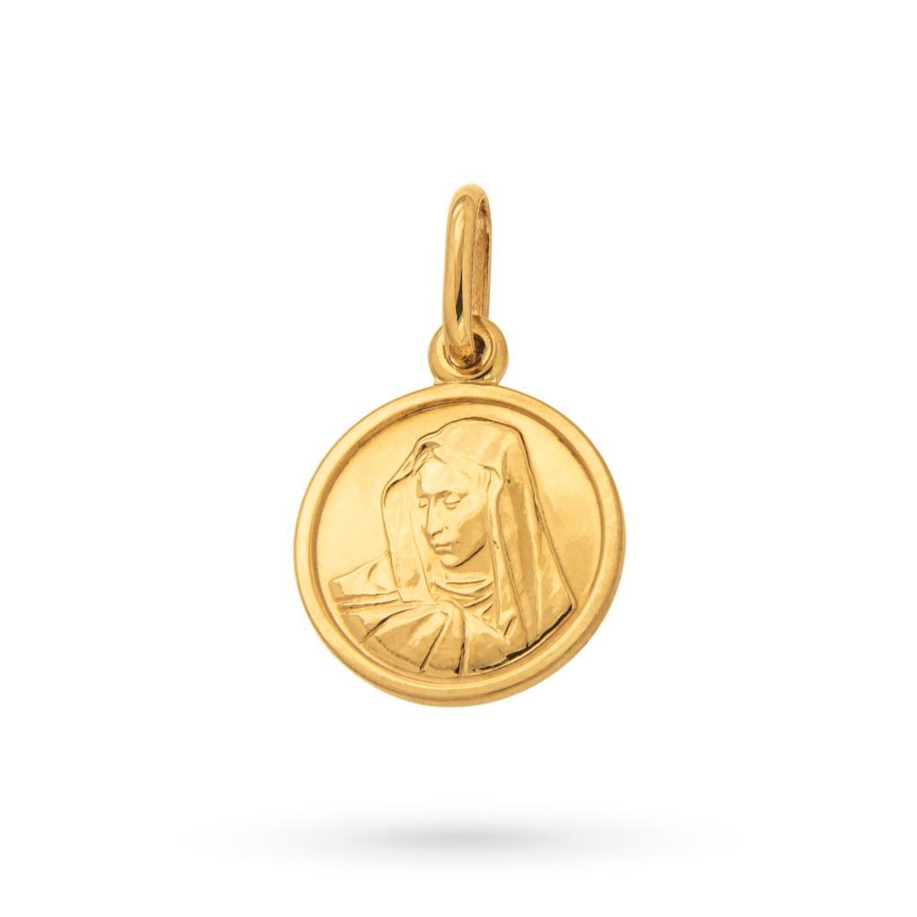 Ciondolo medaglia con madonnina in oro giallo 18kt - CICALA