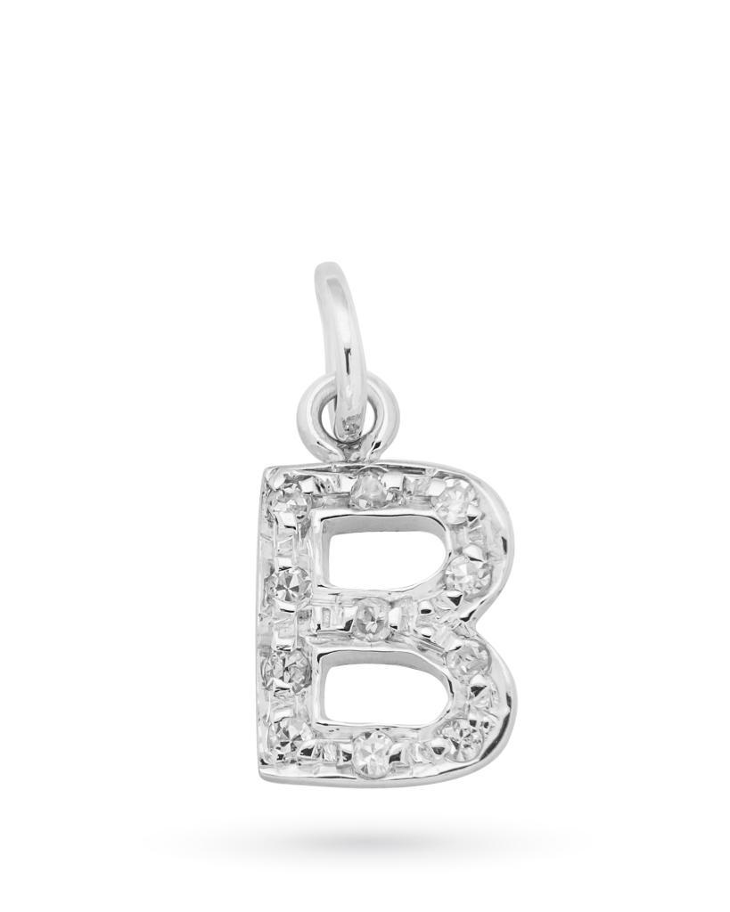 Ciondolo in oro bianco con lettera B e diamanti -