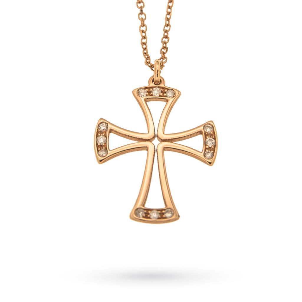 Girocollo con croce in oro rosa 18kt e diamanti - AMÈLIE