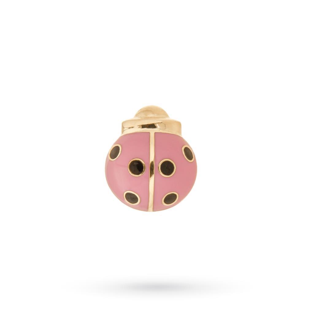 Spilla in oro giallo 18kt con coccinella smaltata rosa - CICALA