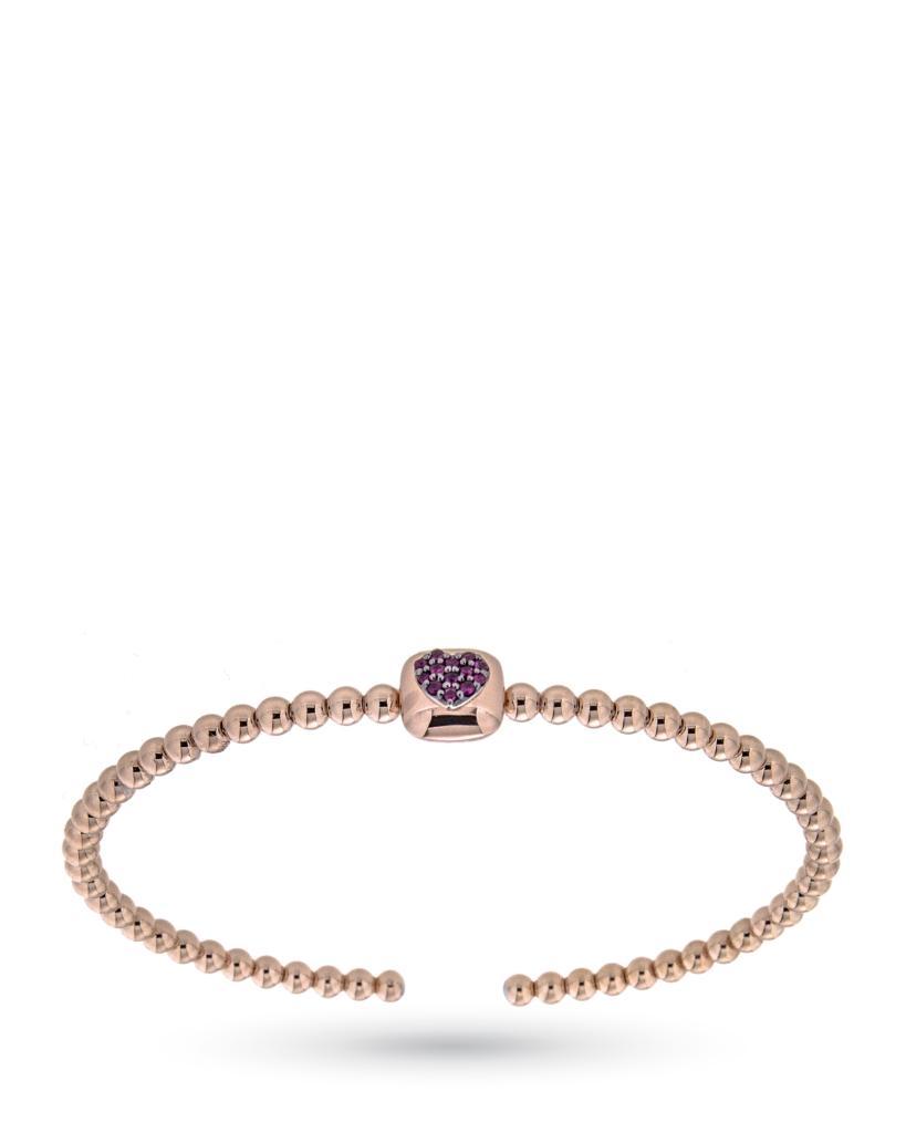 Bracciale rigido in oro rosa con cuore di rubini - CICALA