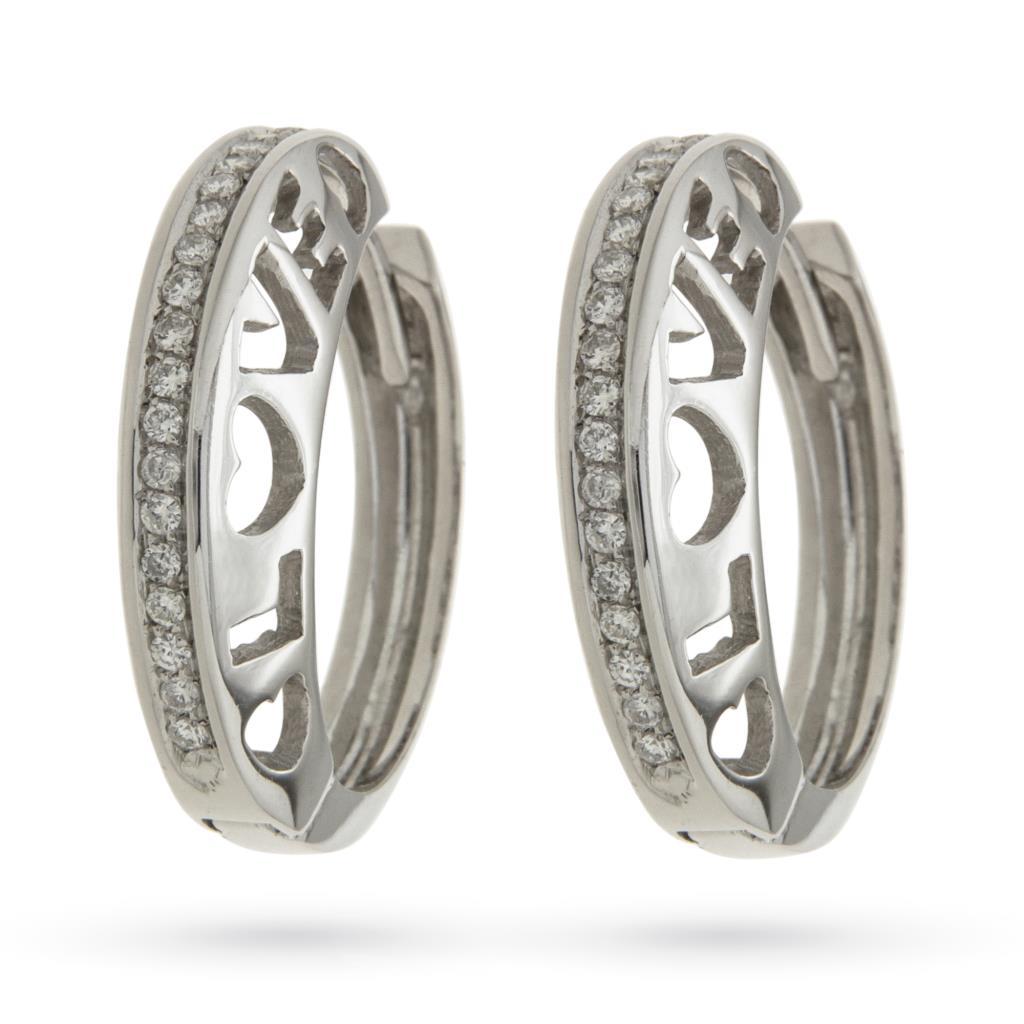Orecchini a cerchio con scritta LOVE in oro bianco e diamanti Ø2,3cm - CICALA