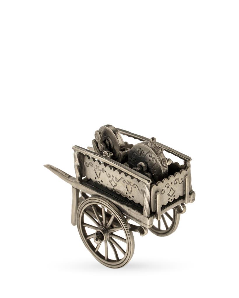 Carretto dell'arrotino soprammobile in argento 925 - UNBRANDED
