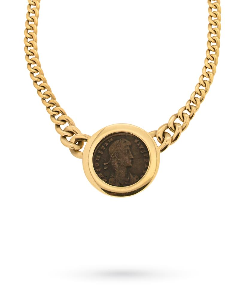 18kt yellow gold necklace with charmcoin - UNBRANDED