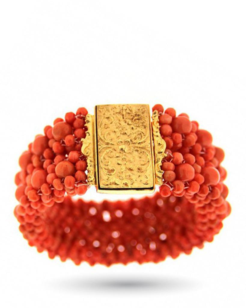 Bracciale in oro giallo con sfere di corallo sciacca - ASCIONE